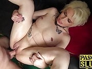 Blonde sub Skyler Squirt spat on during dominating fuck